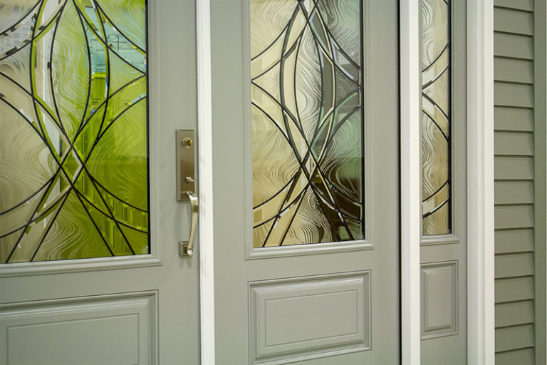 light gray doors with decorative glass design