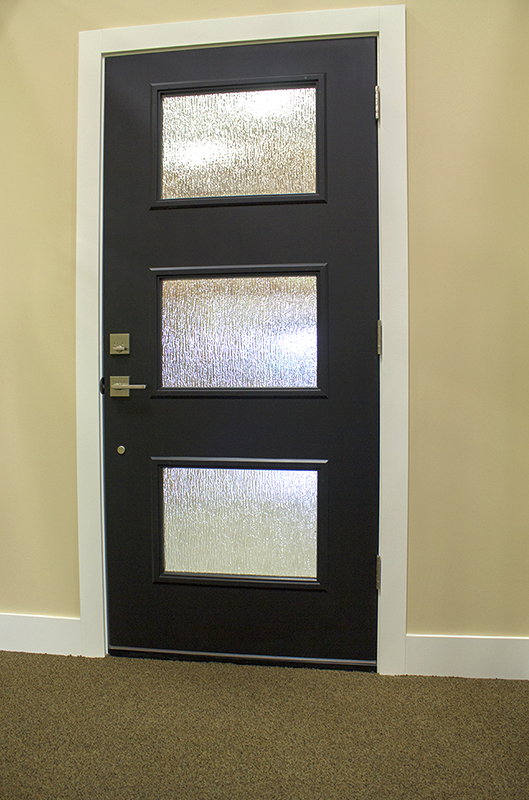 black door with 3 vertical windows