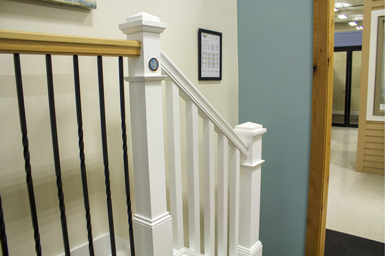 white wood railings for stairs
