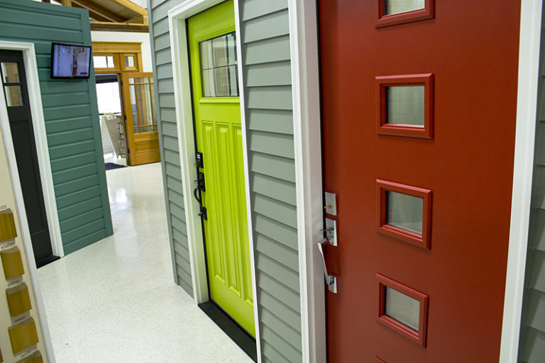 different colored doors